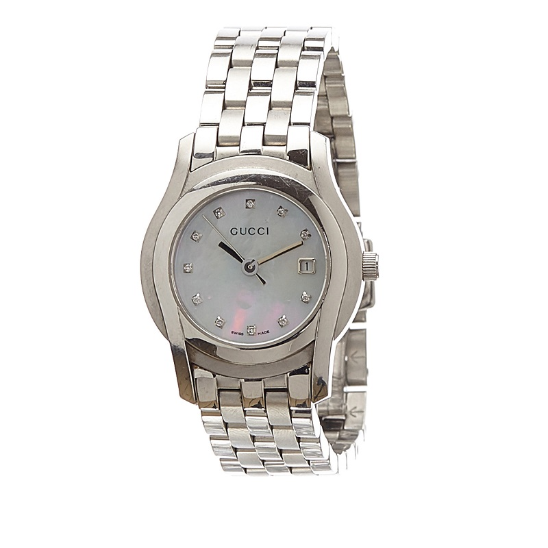 Gucci Mother of Peral Stainless Steel 5500L Women's Wristwatch 27MM