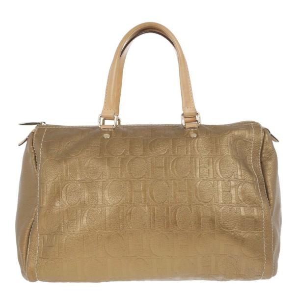 Carolina Herrera Bronze Leather Andy Boston Bag