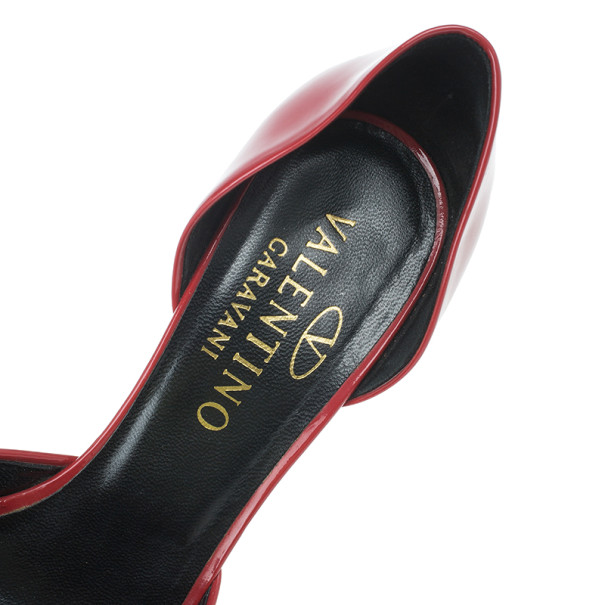 Valentino Red Patent Bow D'orsay Pumps Size 37