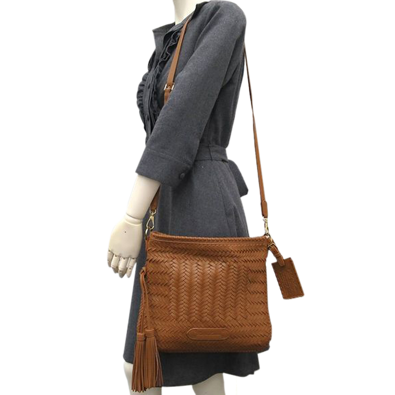 Ralph Lauren Brown Leather Woven Crossbody