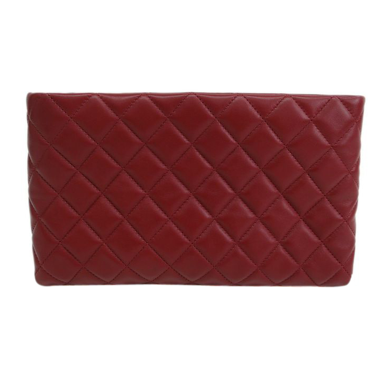 Chanel Red Lambskin Clasp Clutch