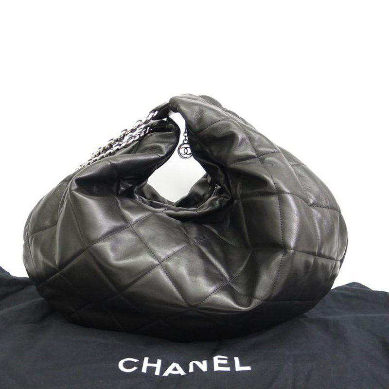 Chanel Black Lambskin Quilted Bangle Hobo