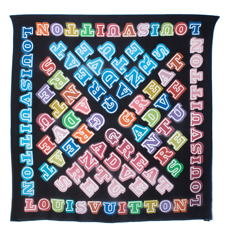Louis Vuitton Limited Edition Neon Great Adventures Giant Square Silk Scarf