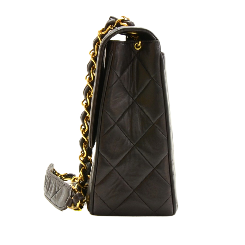 Chanel Black Quilted Leather CC Logo Large Shoulder Flap Bag