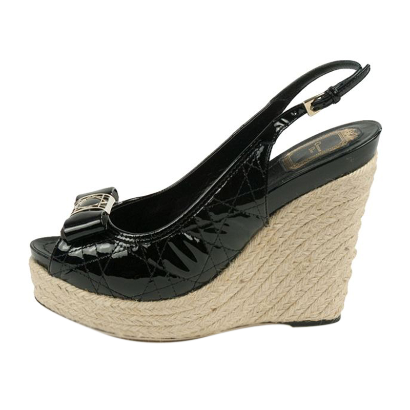 Dior Black Patent Cannage Espadrille Wedge Sandals Size 39