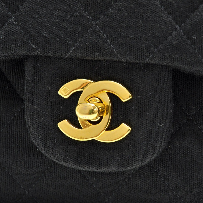 Chanel Black Quilted Jersery Double Flap Shoulder Bag