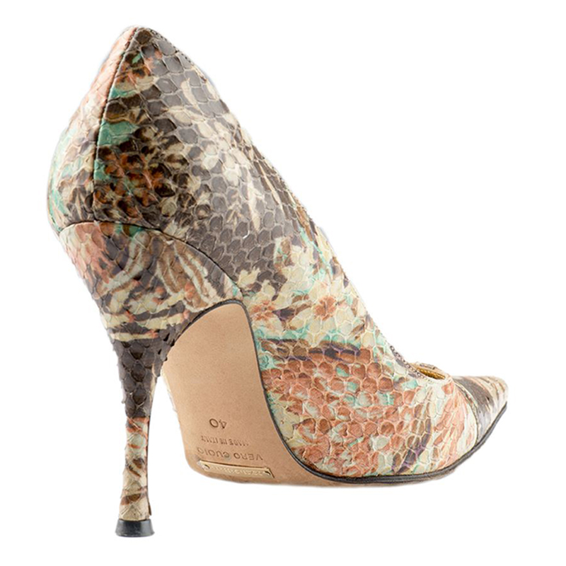 Dolce and Gabbana Brown Python Floral Pumps Size 40