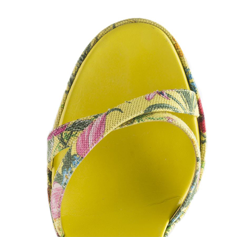 Gucci Yellow Flora Canvas Ankle Strap Sandals Size 38