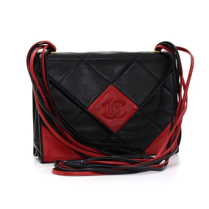 Chanel Black and Red Quilted Leather Shoulder Flap Bag