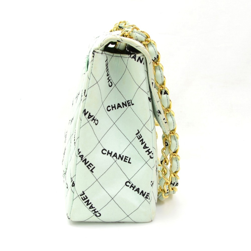 Chanel XL Maxi Jumbo Light Cyan Quilted Cotton Shoulder Flap Bag