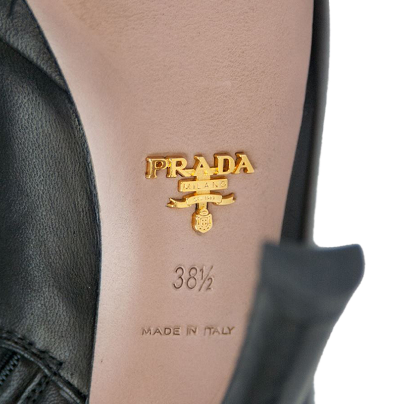 Prada Black Leather Mid Calf Boots Size 38.5