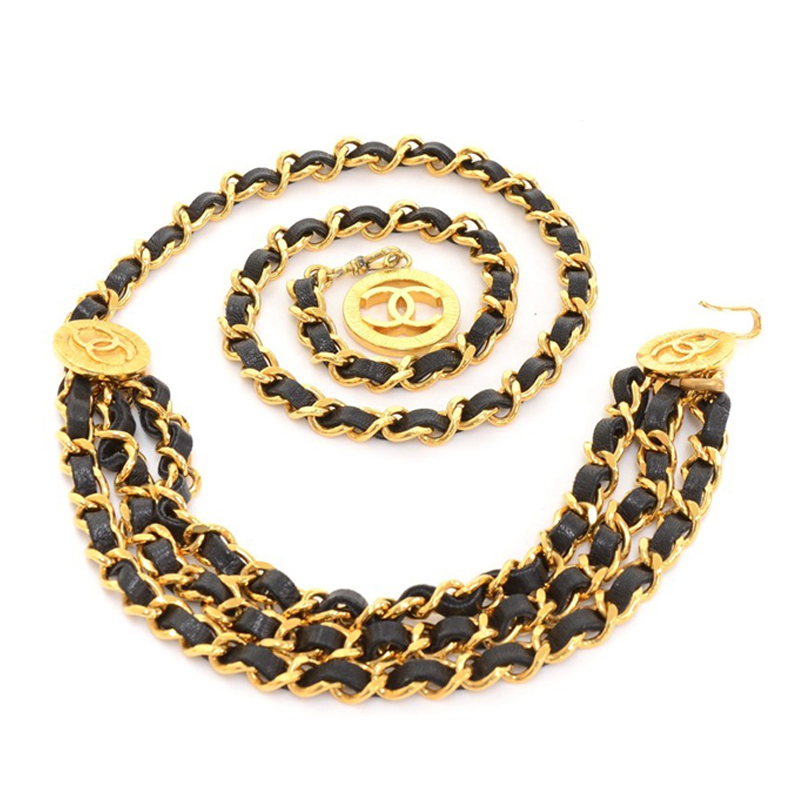 Chanel Black Leather Chain CC Medallion Belt