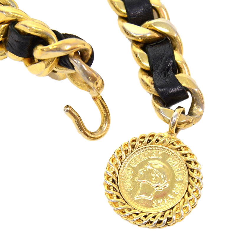 Chanel Black Leather Chain Medallion Belt