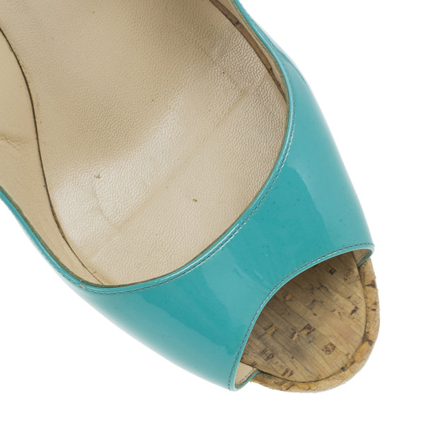 Christian Louboutin Blue Patent Jean Paul Slingback Cork Wedges Size 38