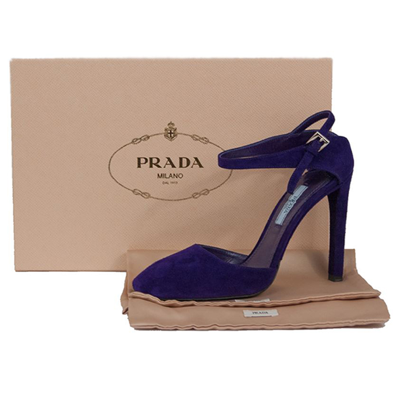 Prada Purple Suede Ankle Strap Pumps Size 37.5