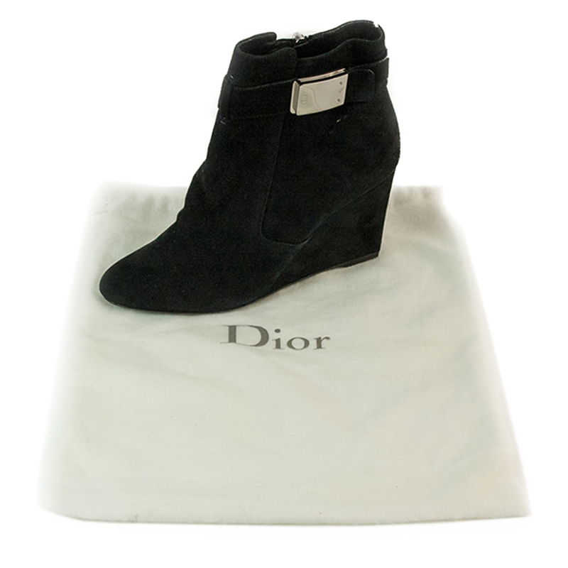 Dior Black Suede Wedge Ankle Boots Size 38.5