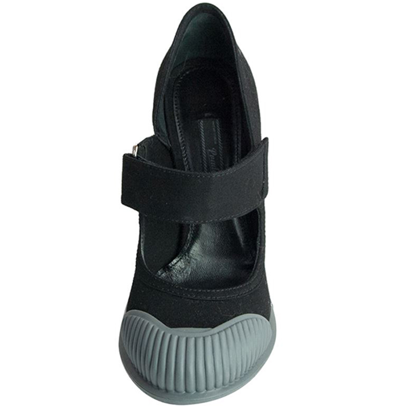Prada Black Extended Cap-Toe Mary Jane Pumps Size 38