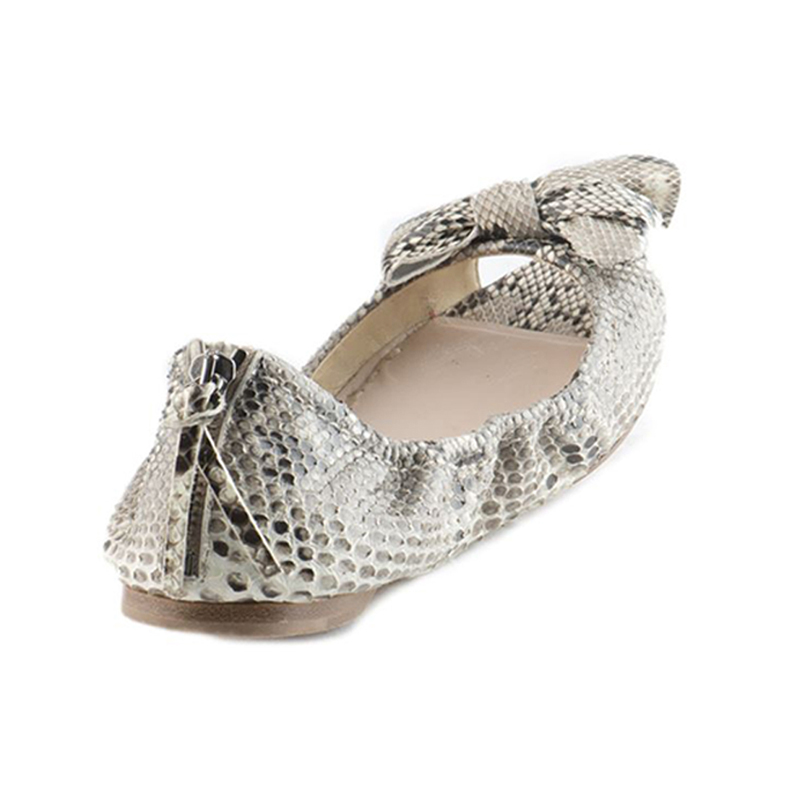 Miu Miu Python Bow Open Toe Ballet Flats Size 37.5