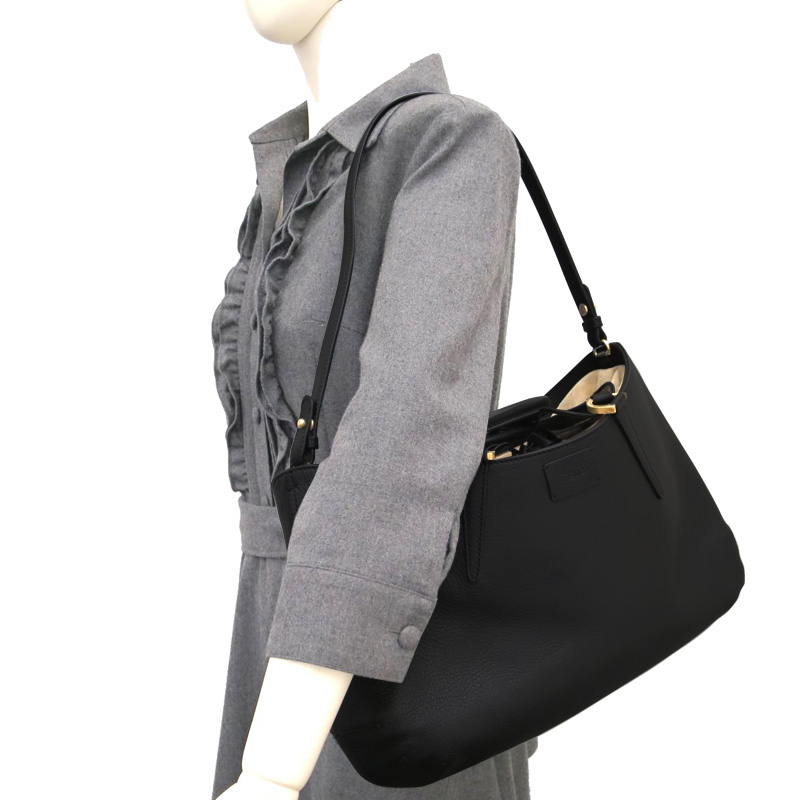 Fendi Black Leather Large 'B. Fab' Gathered Tote
