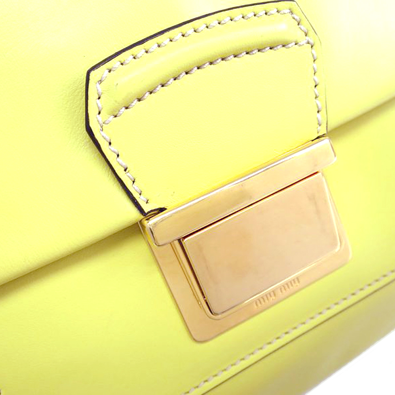 Miu Miu Yellow Leather Flap Boston