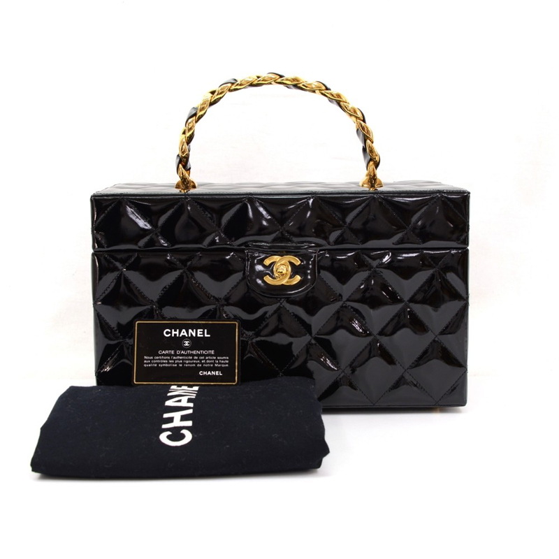 Chanel Black Patent Leather Large Cosmetic Vanity Bag