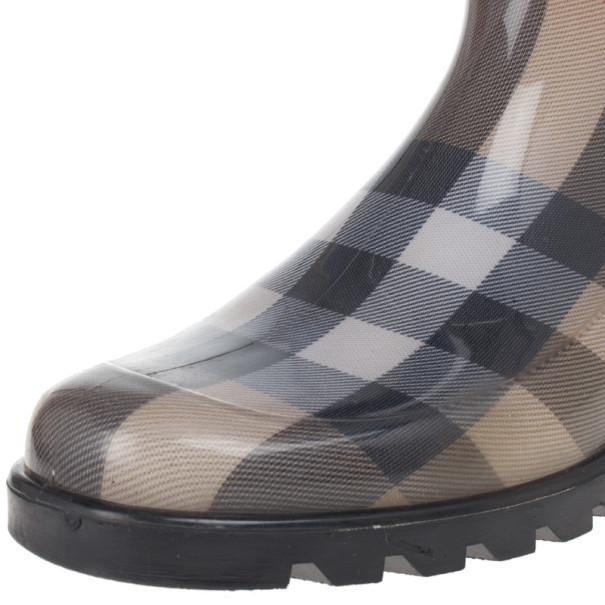 Burberry Beige Nova Check 'House Check' Rain Boots Size 38