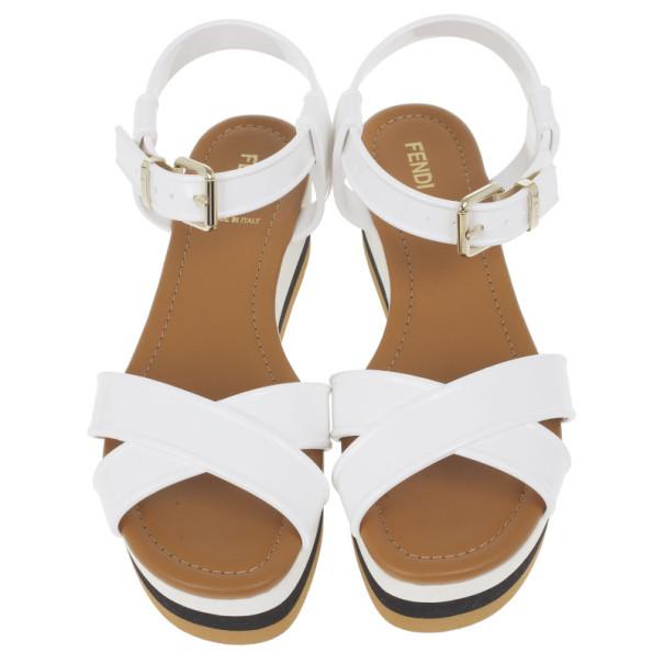 Fendi White Rubber Crisscross Strapped Striped Platform Sandals Size 38.5