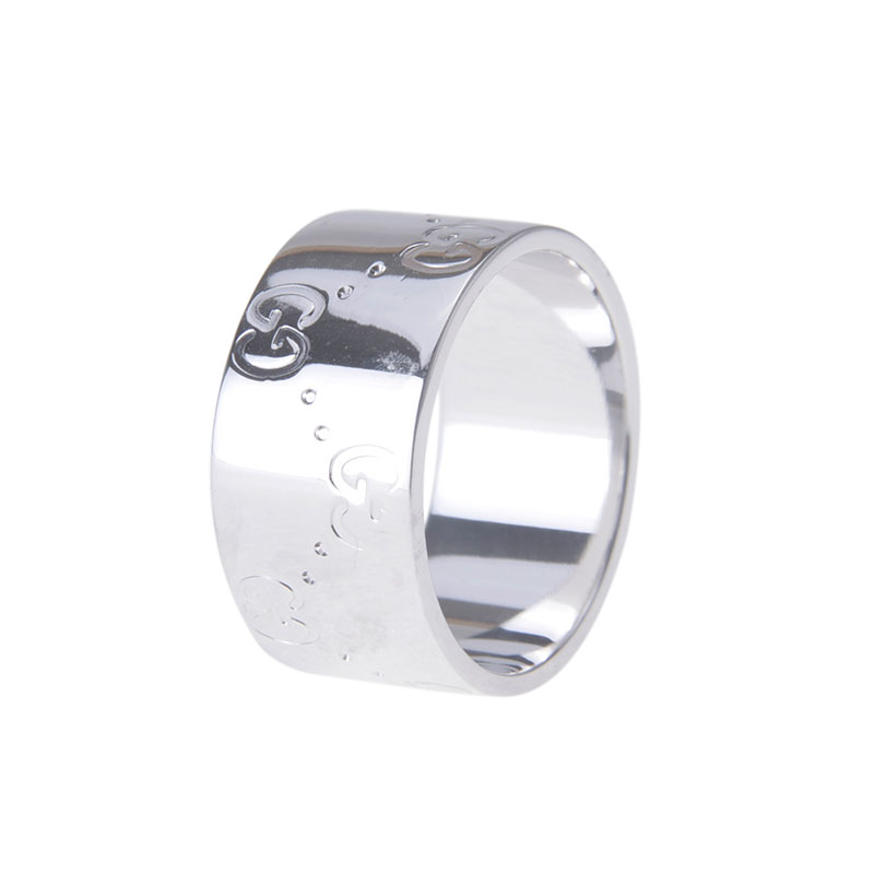 Gucci Icon White Gold Band Ring Size 57