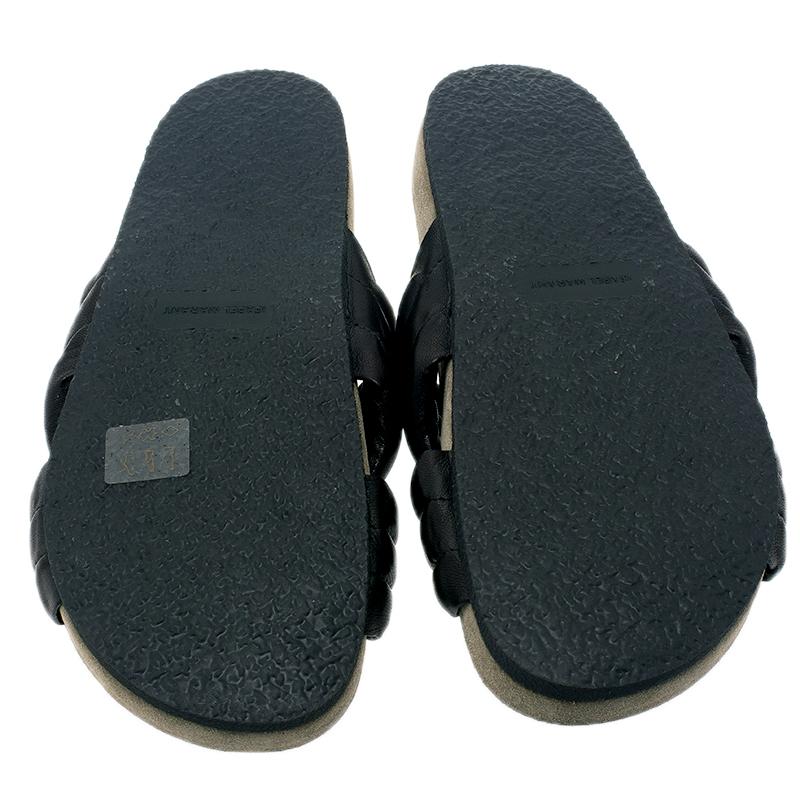 Isabel Marant Black Lambskin Holden Flat Sandals Size 38