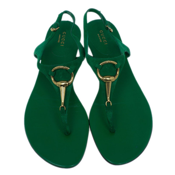 Gucci Green Suede Horsebit Thong Sandals Size 39.5