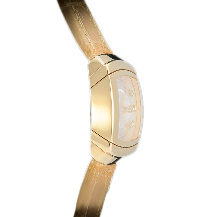 Damiani Silver 18K Yellow Gold Ego Carre Women's Wristwatch 27MM