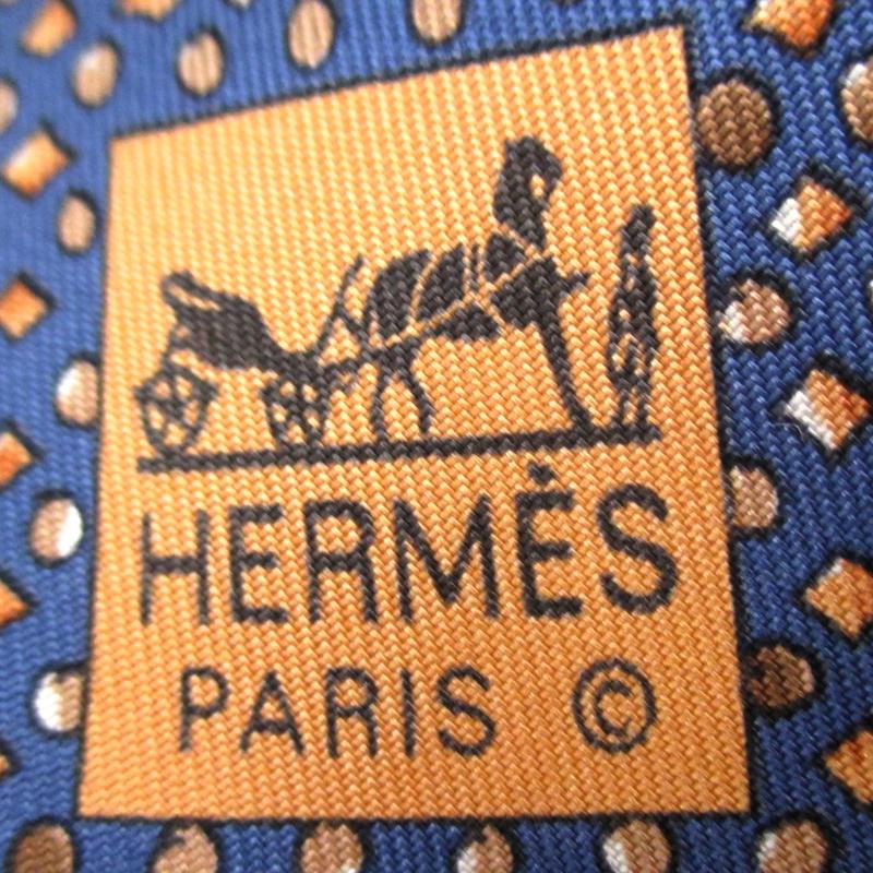 Hermes Blue Polka Dot Printed Silk Tie