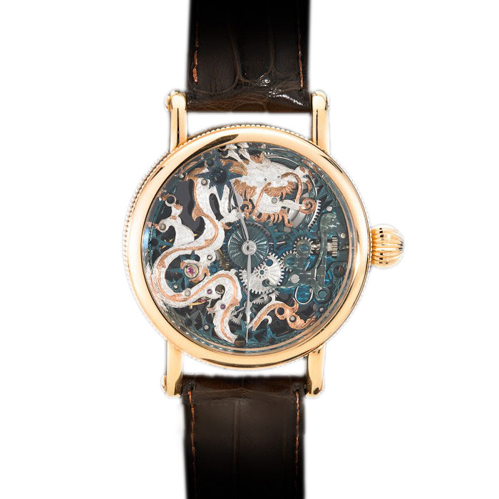 Chronoswiss Skeleton 18K Rose Gold Sign Of The Times Edition III Skeletonized Zeitzeichen Men's Wristwatch 44MM