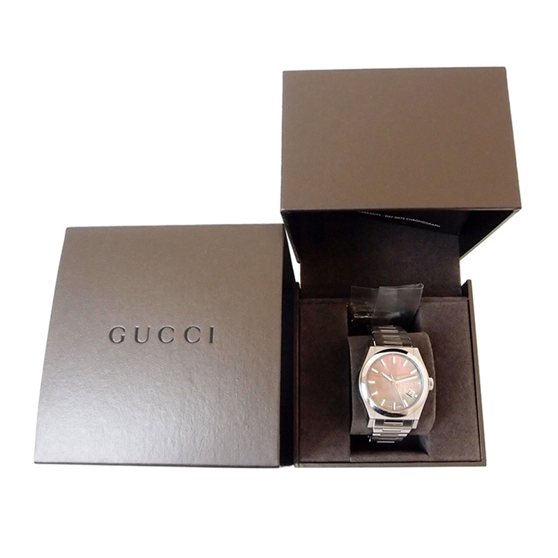 Gucci Silver Stainless Steel Pantheon Black Shell Men's Wristwatch 36mm