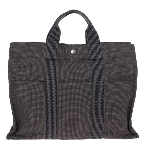 Hermes Grey Canvas Herline MM Tote
