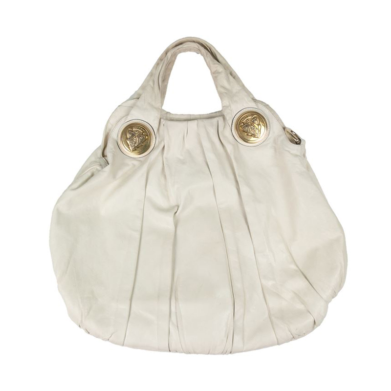 Gucci White Leather Large Hysteria Hobo