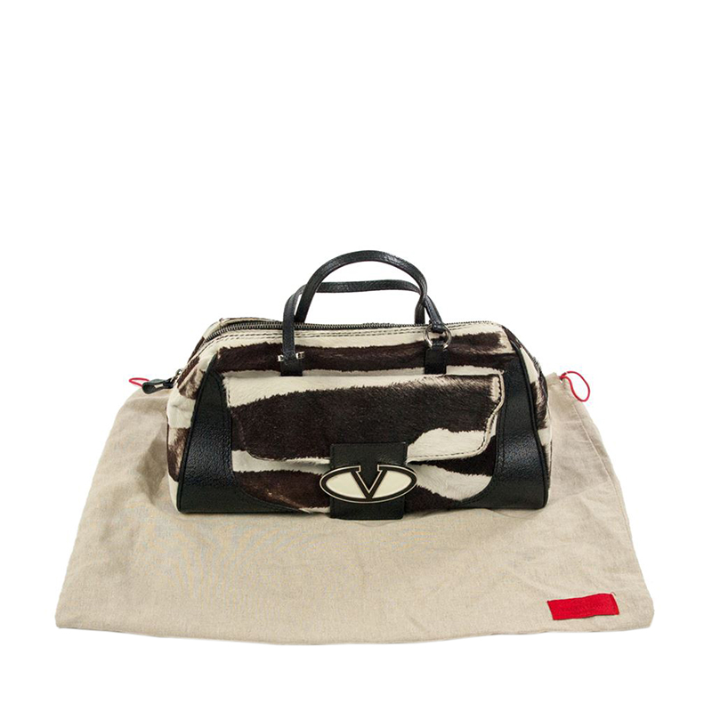 Valentino Garavani Zebra Striped Fur and Leather Satchel