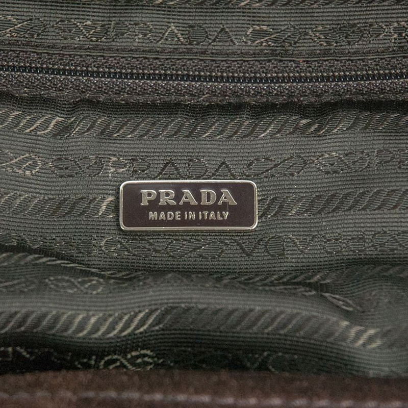 Prada Brown Suede Top Handle Tote