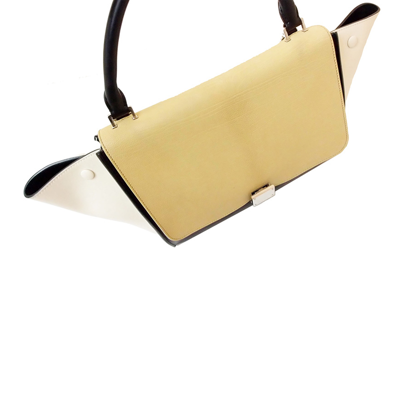 celine beige exotic leathers handbag trapeze
