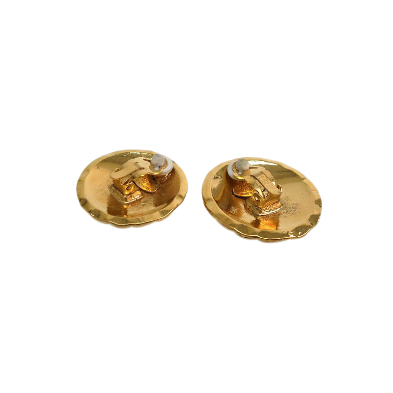 Chanel CC Gold Tone Round Matelasse Clip Earrings