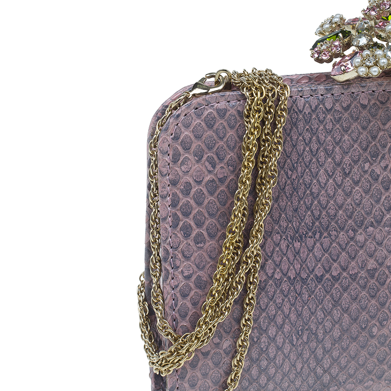 Valentino Purple Python Chain Shoulder Bag