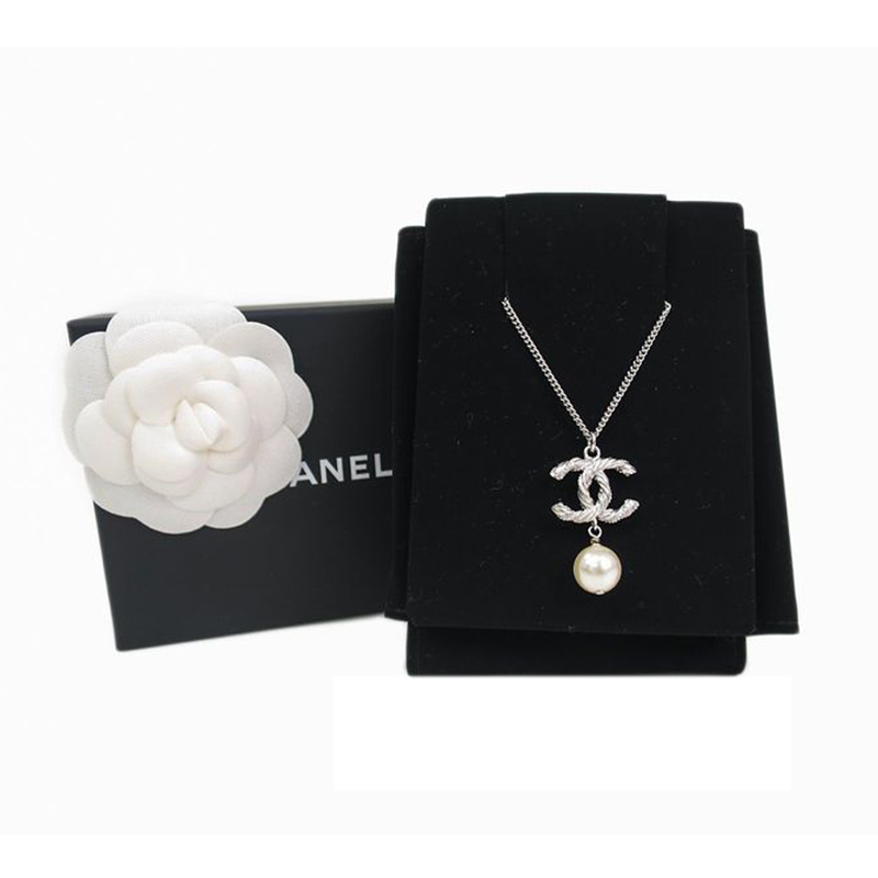Chanel CC Faux Pearl Silver Tone Pendant Necklace