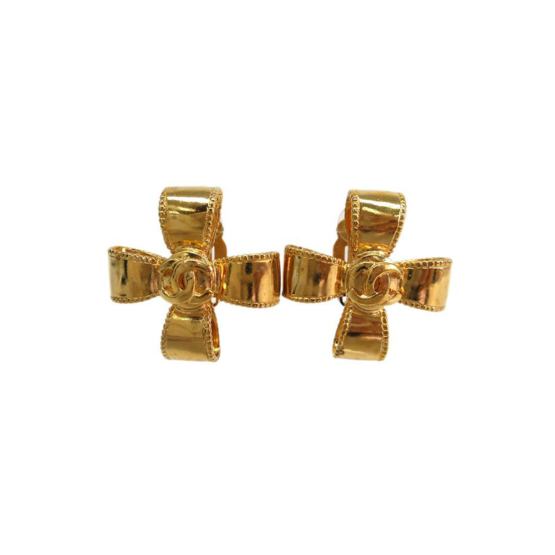 Chanel CC Cross Gold Tone Clip On Earrings