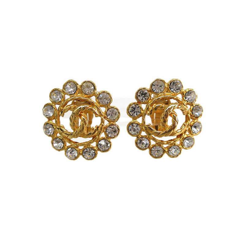 Chanel CC Flower Crystal Gold Tone Clip Earrings