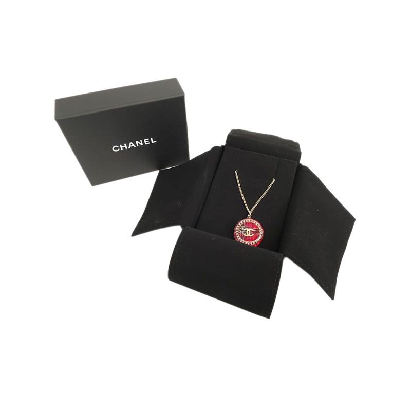 Chanel CC Pink Tweet Resin Gold Tone Pendant Necklace