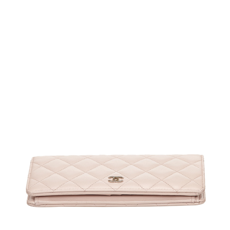 Chanel Pink Quilted Leather CC Continental Wallet