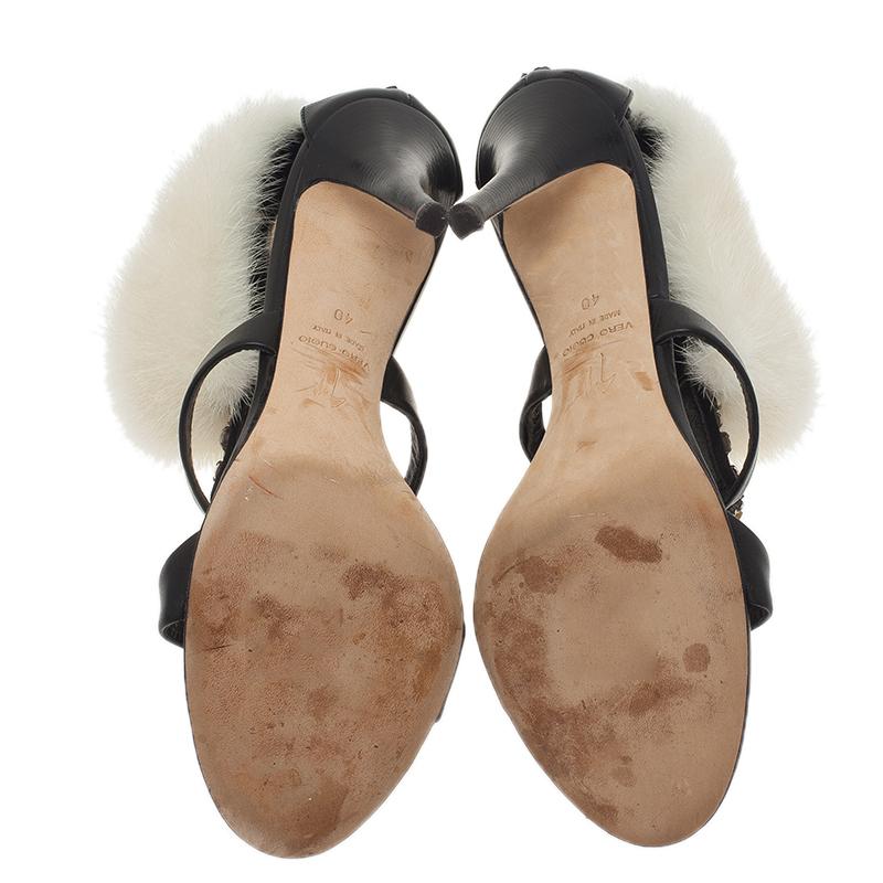 Giuseppe Zanotti Black Jewel Embellished Leather Fur Trim Sandals Size 40