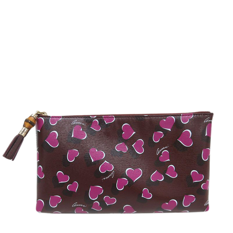 Gucci Bordeaux Leather Heart Pattern Pouch