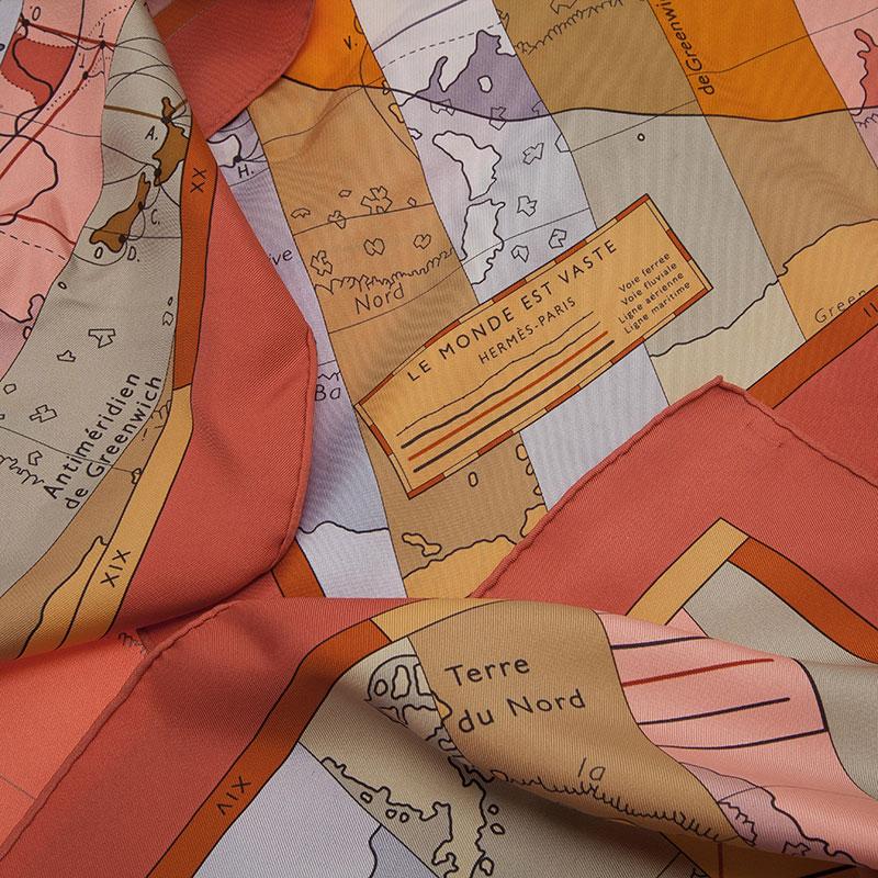 Hermes Multicolor Le Monde Est Vaste Silk Square Scarf