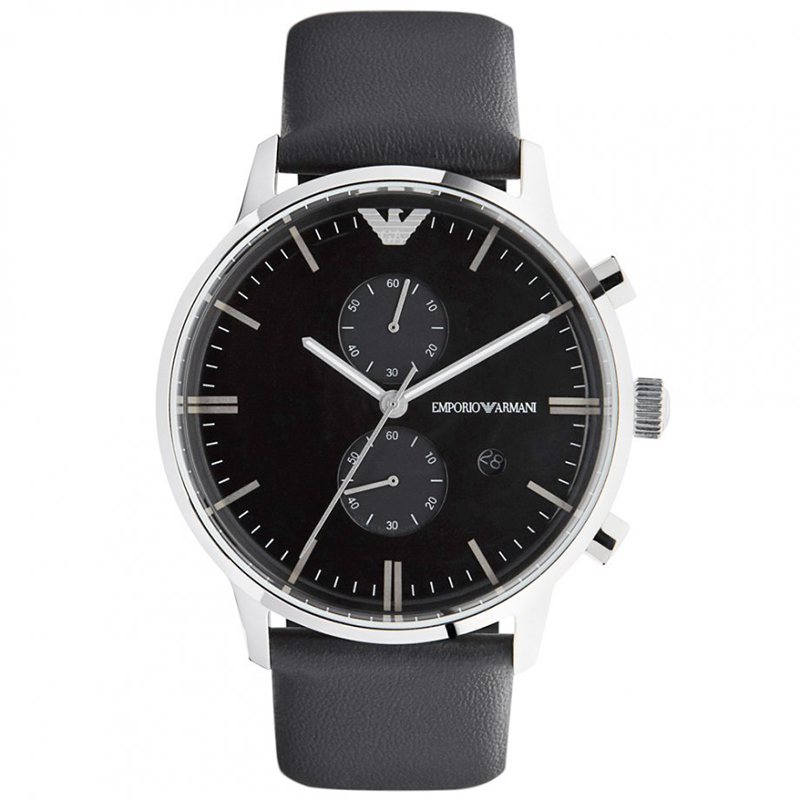 Emporio Armani Black Stainless Steel AR0397  Men's Wristwatch 43MM